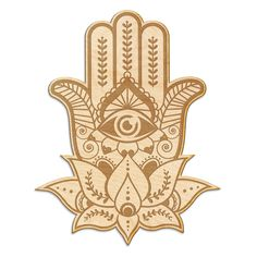 10x Wooden Simple Hamsa Hand Craft Shape 3mm Ply Religious Islamic Lotus