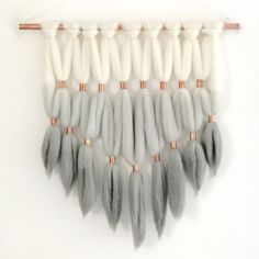 Gray Dip Dyed Roving Wall Hanging Fiber Wall by WhiskerRow