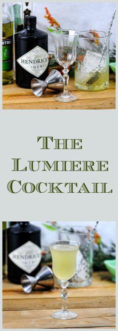 The Lumiere - gin, green chartreuse, St Germain elderflower liquor, lime juice, orange bitters cocktail
