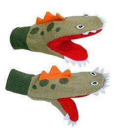 Love this Green Dinosaur Mittens on #zulily! #zulilyfinds