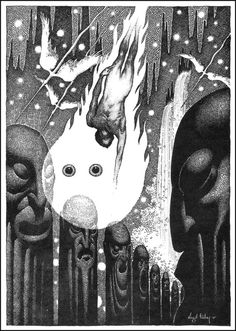 Virgil Finlay, Nicholas Graydon from The Face in the Abyss by A. Merritt, Famous Fantastic Mysteries reprinted in A. Psychedelic Space, Japanese Monster, Cross Hatching, Drawing Studies, Pulp, Scratchboard, Black And White Illustration, Sci Fi Art, Oeuvre D'art