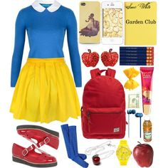 Snow White Goes to School: Fall Edition by haterzbelike, via Polyvore Modern Disney Outfits, Disney Bound Outfits, Halloween Queen, Disney Designs, Greaser, Disney Fashion, Disneybound, Disney Style, Snow White