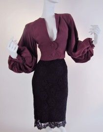1940's Lilli Ann Film Noir Dramatic Bishop Sleeve Jacket