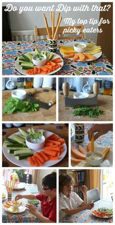 Do you want dip with that? Top tips for picky eaters via The Mad House. Encouraging kids to eat vegetables Healthy Lunches For Kids, Healthy Foods To Eat, Healthy Cooking, Kids Meals, Healthy Eating, Healthy Recipes, Family Meals, Cooking Tips, Healthy Snacks