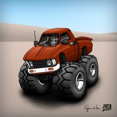 A CARtoon of a 79 Toyota HiLux pickup truck by Ryan Nore.