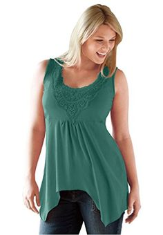 Ellos Womens Plus Size Crochet Trim Hanky Hem Tank Dark Emerald1X ** You can get additional details at the image link.Note:It is affiliate link to Amazon.