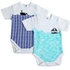 Image of Nautical baby bodysuit set
