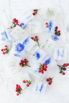 These pretty DIY floral ice cubes are great for summer parties! By The House That Lars Built Flower Ice Cubes, Flavored Ice Cubes, Wedding Table Layouts, Fourth Of July Food, July 4th, Ice Blocks, Bbq, Wedding Cakes With Cupcakes, Edible Arrangements