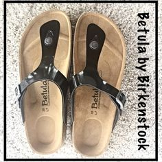 SOLDBetula by Birkstock Staple Sandal 7 Look no further...here is your staple sandal this season by Betula (Licensed by Birkenstock) Y-shaped black patent straps - silver buckle and hardware - contoured cushioned footbed - cork midsole. Brand New with box  Betula by Birkenstock Shoes Sandals