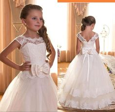 $49.25/Piece:buy wholesale 2016 Girl's First Communion Dresses Scoop Backless With Appliques and BowTulle Ball Gown Pageant Dresses For Little Girls from DHgate.com,get worldwide delivery and buyer protection service.