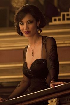 Severine - James Bond Skyfall  Actress:   Bérénice Marlohe. She is a French model and actress of French, Chinese and Cambodian descent born in 1979.
