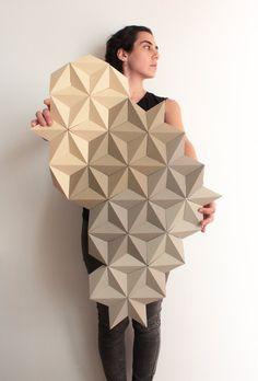 Paper Wall Mural, Origami Wall Art, Wall Decor, Shop Display, Wall Decoration - Moduuli Beige Africa