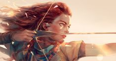 Thank you for all the Horizon Zero Dawn fan art, cosplay, models, screenshots, pictures and stories you have shared with us in the past year! Horizon Zero Dawn Aloy, Horizon Zero Dawn Wallpaper, Dawn Images, Archery Girl, Girls With Red Hair, Fanart, Warrior Girl, Warrior Princess, Redhead Girl