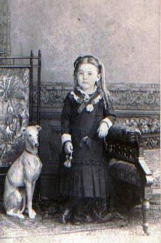 Whippet and young girl circa late 1800's. Whippet dog art portraits, photographs, information and just plain fun. Also see how artist Kline draws his dog art from only words at drawDOGS.com He also can add your dog's name into the lithograph.
