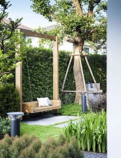 Beautiful Backyard Garden Landscaping Ideas That Looks Great Landscaping Sketch Modern 41 Best Ideas Ging Reflective Pond Awesome Garden Swing Seats Ideas for Backyard Relaxing ~ Ideas Garden Bench Modern Cozy Backyards Backyard Garden Design, Backyard Pergola, Garden Landscape Design, Patio Design, Outdoor Pergola, Outdoor Benches, Fence Design, Garden Benches, Backyard Swings