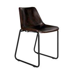 Freischwingerstuhl (2er Set)   Stylischer Esstisch Stuhl Mit Braunem Leder  Und Nieten. Das