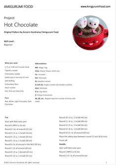 Amigurumi Food: Neues Update Hot Chocolate San Valentine 's Day Free Pattern Am … - Cupcake Baby Shower Ideen Crochet Fruit, Crochet Ball, Crochet Food, Crochet Crafts, Octopus Crochet Pattern, Crochet Amigurumi Free Patterns, Free Crochet, Kawaii Crochet, Crochet Disney