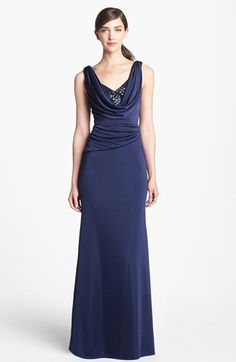 MOB - ML Monique Lhuillier Embellished Draped Satin Gown available at #Nordstrom