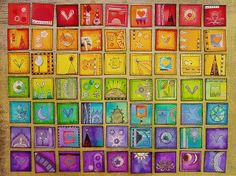"Rainbow Inchies by Phizzychick!, via Flickr  Water Color 1"" Squares"