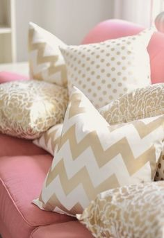 Pink, Gold and White. That pink is too bright though. I would prefer a soft blush color.