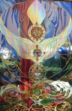 This was part of a stained glass altar piece in the Meditation Pavillion.  I should have got the artists name for credit.  Oops!