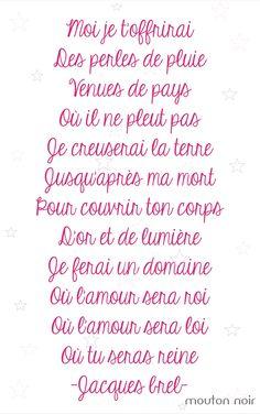"""... beaux mots d'amour .... """"Ne me quitte pas""""  Jacques Brel"""
