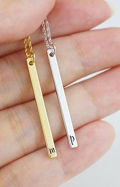 These are so chic and simple! Modern skinny bar necklace from EarringsNation Christmas Gift ideas initial bar necklace
