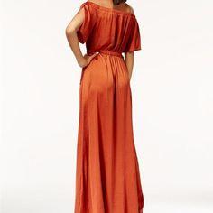 Bar lll burnt orange umber off shoulder maxi dress Burnt Orange Bridesmaid Dresses, Dress Bar, Review Dresses, Orange Color, Off The Shoulder, Macy's Online, My Style, Women, Fashion