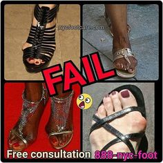 Don't be a foot fail Call NYC FOOTCARE 888-nyc-foot / nycfootcare.com 212.385.2400 #NYC #pedicure #highheels #l4l #toes #makeup #manhattan #bronx #brooklyn #queens #fashion #fashionista #heels #ugly...
