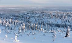 Finland, Utsuvaara ski lodges in sunrise, gold mine on the background - photo heinakenka Lapland Finland, Gold Mine, Lodges, Skiing, Sunrise, Lol, Mountains, Landscape, Travel