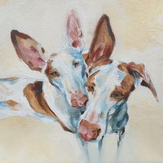 Tula and Remmie oil on canvas 8 x 8 inches by Julie Brunn