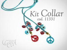 Como hacer Kit 11331 Kit collar simbolo rojo y turqueza