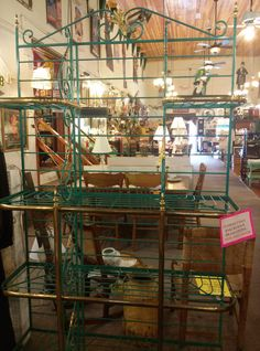 Wonderful vintage bakers rack with original green paint! Vintage Hutch, Bakers Rack, Shelving, Paint, Dining, The Originals, Green, Shelves, Picture Wall