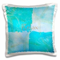 3dRose Relax Starfish Aqua and Blue Beach Theme with Ocean Colors, Pillow Case, 16 by 16-inch