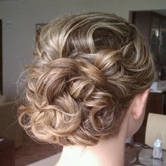 Romantic Wavy Curl Up-Do updo up do Wedding Hair Style. Central Florida, Orlando, Oveido, Lake Mary, Winter Park, Hair and Makeup done by Marigold Scott On Location Hair and Makeup  Hairstyles and Makeup done by Marigold Scott Orlando FL www.marigoldscott.com
