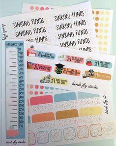 Dave Ramsey Budget Sticker Bundle FN101 / Budget ECLP Stickers / Erin Condren Planner Sinking Funds / Dave Ramsey Planner Emergency Fund   $15.00