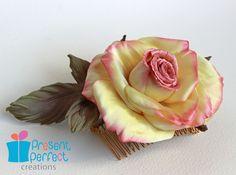 Wedding hair comb, satin rose for hair, pink silk rose. $50.00, via Etsy.