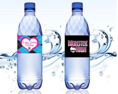 Water Bottle Labels, Monster High, Printable for Birthday Party favors.
