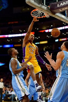 Dwight Howard  Game stats vs. Denver Nuggets: 28 pts, 20 rebounds, 3 blocks Dwight Howard, Blake Griffin, Basketball Art, Denver Nuggets, Los Angeles Lakers, Rebounding, Kobe Bryant, Nba, Game