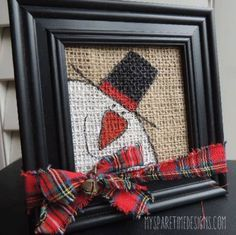 Burlap Christmas art Mom use all your frames Homemade Christmas, Christmas Snowman, Rustic Christmas, Winter Christmas, Christmas Holidays, Diy Christmas Frames, Primitive Christmas, Fall Winter, Snowman Crafts