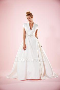 Deep V Neck Ivory Ball Gown Cap Sleeve Long Satin Wedding Dress Sexy Keyhole Accent