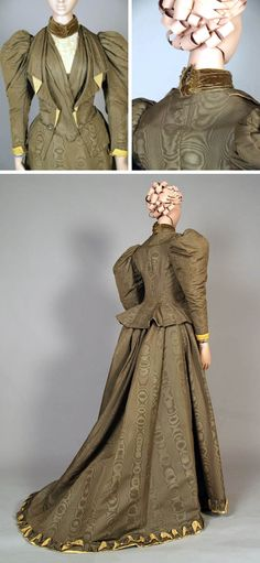 Visiting dress, Frederic, London, ca. 1895-99. Forest green silk moiré & silk faille. Bodice trimmed with yellow ribbed silk at cuffs & under lapel. Sleeves puffed at shoulder and fitted at arm & cuff. High neck fastened with velvet ribbon and attached lace dickie over yellow satin. Skirt with slight train and hem trimmed with yellow silk and faced with moiré. Kent State Univ. Museum