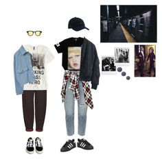 """""""bts - ma city"""" by starlord-8 ❤ liked on Polyvore featuring Boutique, Current/Elliott, Tommy Hilfiger, Polaroid, adidas, Vans and H&M"""