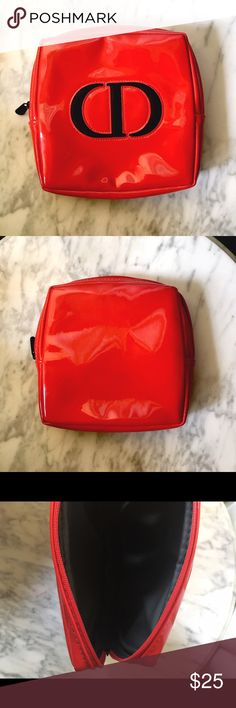 🎉Final Price ⬇️✨🆕 Dior Cosmetic Bag New Dior bright red patent cosmetic bag. Perfect size for all of your essentials. Christian Dior Bags Cosmetic Bags & Cases