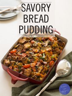 I am totally down with savory breakfasts, especially on the weekends.  Check out this Savory Bread Pudding, which uses sour cream + chive biscuits as the base. // Spoon Fork Bacon