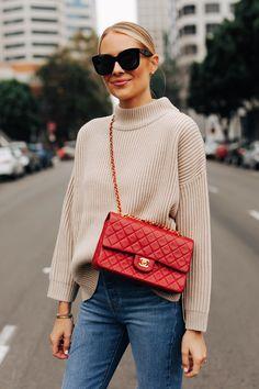 Fashion Jackson Sitting Wearing Topshop Beige Mock Neck Sweater Levis Jeans Classic Chanel Red Handbag