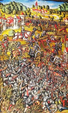 """The battle of Nancy (1477), Chronicles of Luzern, Diebold Schilling the Younger, 1511-1513, Facsimile folio 119r (241). Final attack on the Burgundian forces. In the Centre: Charles the Bold in his """"golden"""" armor."""
