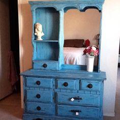 Distressed aqua dresser with antique metal knobs