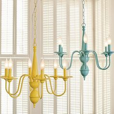 We have the ugliest chandelier in our kitchen - I love this idea of repainting the one we have! I bet a fresh colorful coat would make it almost bearable!