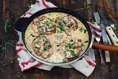 Try this classic pork chops with creamy mushroom sauce recipe. comfort food at its best. Creamy Mushroom Sauce, Creamy Mushrooms, Stuffed Mushrooms, Stuffed Peppers, Pan Seared Filet Mignon, Whiskey Sauce, Pork Chops, Sauce Recipes, Cooking Time